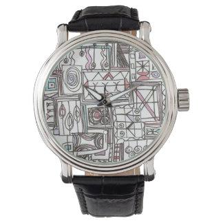 Relógio De Pulso Doodle geométrico Subtil-Lunático