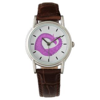 Relógio De Pulso Dragão brilhante do coração roxo no branco