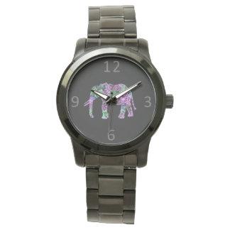 Relógio De Pulso elefante de néon floral tribal colorido