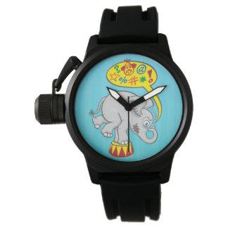 Relógio De Pulso Elefante irritado do circo que diz palavras más
