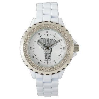 Relógio De Pulso Elefante tribal preto & branco boémio