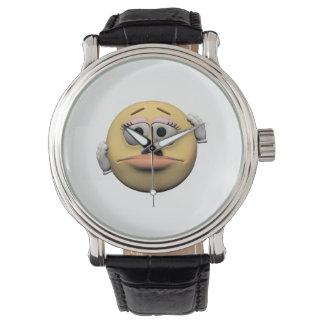 Relógio De Pulso Emoticon fêmea pesaroso