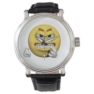 Relógio De Pulso Emoticon irritado amarelo ou smiley