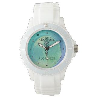 Relógio De Pulso Enfermeiras do símbolo   do Caduceus que nutrem o