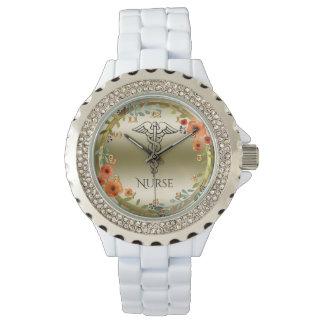 Relógio De Pulso Enfermeiras florais do símbolo | RN do Caduceus