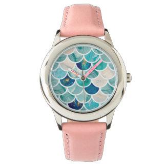 Relógio De Pulso Escalas de peixes borbulhantes da sereia do