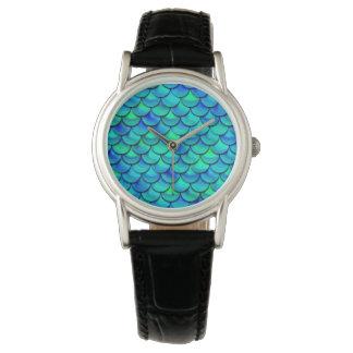 Relógio De Pulso Escalas do azul do Aqua de Falln