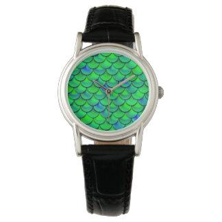 Relógio De Pulso Escalas verdes do azul de Falln