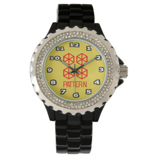 Relógio De Pulso Esmalte do preto do cristal de rocha das mulheres