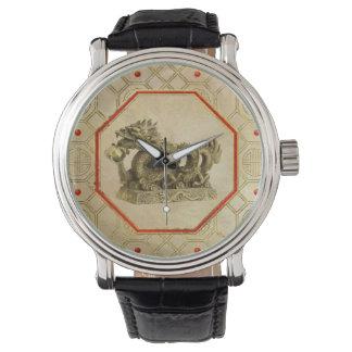 Relógio De Pulso Estátua chinesa do ouro do dragão do Feng-shui