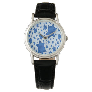 Relógio De Pulso Estrela de David azul da aguarela