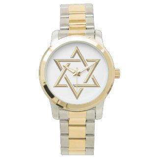 Relógio De Pulso Estrela de David dourada