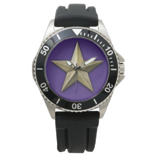 Relógio De Pulso Estrela goldtone escovada na textura roxa