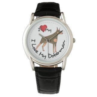 Relógio De Pulso Eu amo meu cão do Doberman