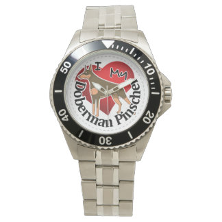 Relógio De Pulso Eu amo meu Pinscher engraçado & bonito adorável do
