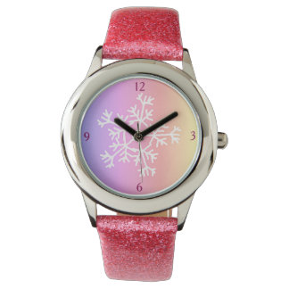 Relógio De Pulso Faísca cor-de-rosa feita sob encomenda dos flocos
