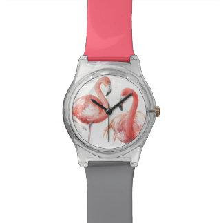 Relogio De Pulso Família tropical de   dos flamingos