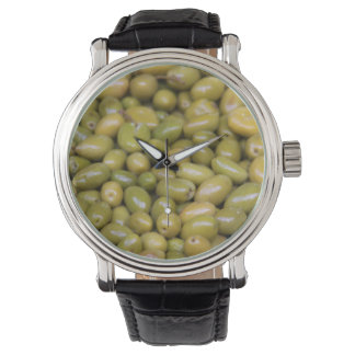 Relógio De Pulso Feche acima das azeitonas verdes