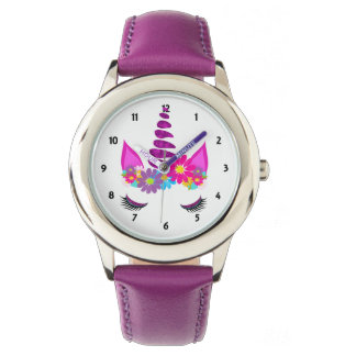 Relógio De Pulso Feminino bonito super florido do unicórnio