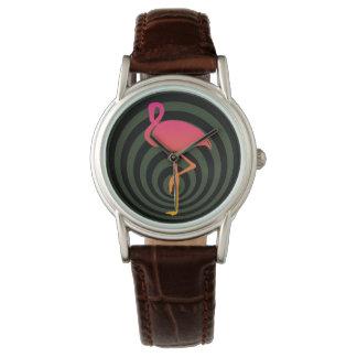 Relógio De Pulso Flamingo bonito nos círculos