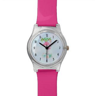 Relógio De Pulso Flamingo cor-de-rosa Momma & bebê com palmeiras