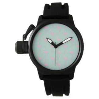 Relógio De Pulso Flamingo cor-de-rosa no teste padrão sem emenda da