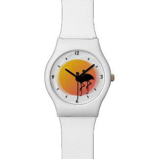 Relogio De Pulso Flamingos do por do sol