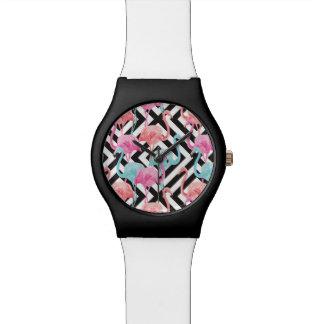 Relógio De Pulso Flamingos no teste padrão corajoso do design