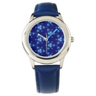 Relógio De Pulso Flocos de neve no azul