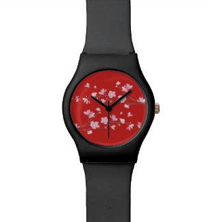 Relógio De Pulso Flor de cerejeira - vermelho