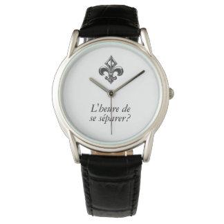 Relógio De Pulso Flor de lis VOTRE TEXTE Heure de seSéparer de