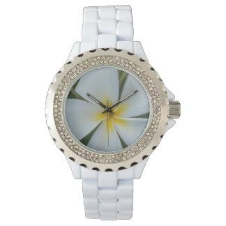 Relógio De Pulso Flor tropical branca do plumeria de Fiji