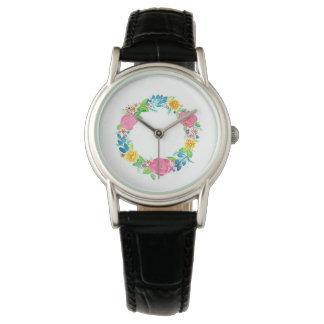 relógio de pulso floral das senhoras da grinalda