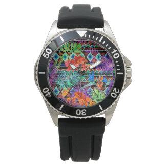 Relógio De Pulso Floral tribal tropical de BoHo