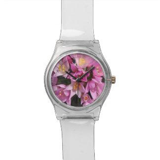Relógio De Pulso Flores cor-de-rosa e amarelas tropicais