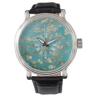 Relógio De Pulso Flores da amêndoa de PixDezines Van Gogh