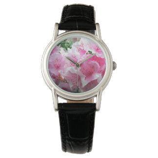 Relógio De Pulso Flores florais cor-de-rosa de Falln