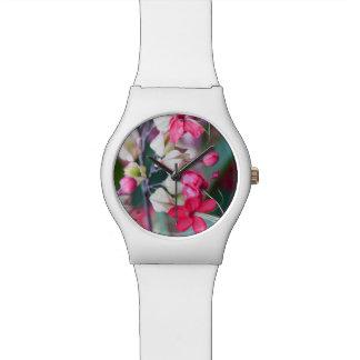 Relogio De Pulso Flores tropicais cor-de-rosa e brancas vermelhas