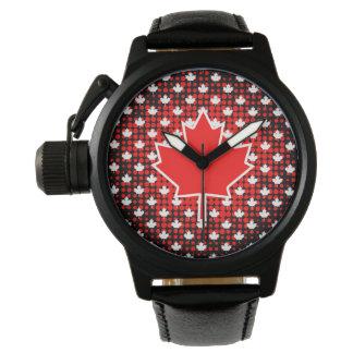 Relógio De Pulso Folha de bordo canadense com fundo do teste padrão