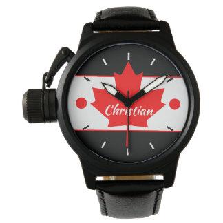 Relógio De Pulso Folha de bordo canadense (seu nome)