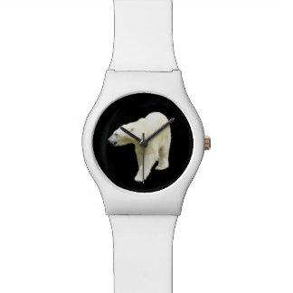 Relógio De Pulso Foto do urso polar no preto