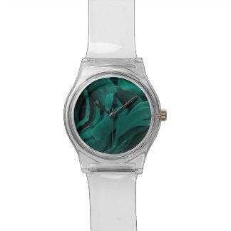 Relógio De Pulso Foto floral dos rosas aveludado azul esverdeado