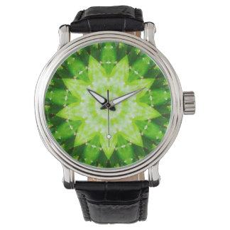 Relógio De Pulso Fractal dado forma estrela do cacto do Succulent
