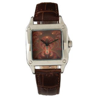 Relógio De Pulso Fractal moderno abstrato luminoso do vermelho