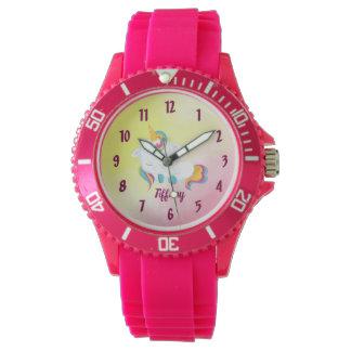 Relógio De Pulso Fundo cor-de-rosa e amarelo do amante do unicórnio