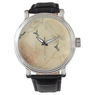 Relógio De Pulso Fundo da orquídea do vintage