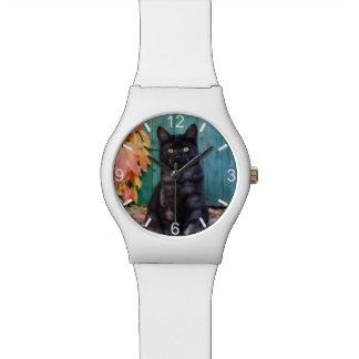 Relógio De Pulso Gatinho bonito do gato preto com porta azul --