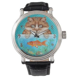Relógio De Pulso Gatinho de arreganho com fome engraçado da bacia