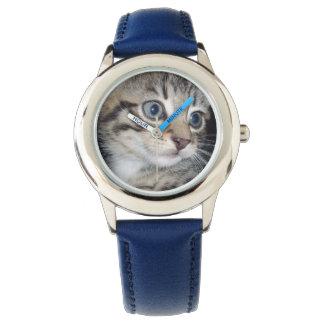 Relógio De Pulso Gatinho macio cinzento Eyed azul,