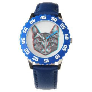 Relógio De Pulso Gato 3d, 3d gato, gato preto e branco